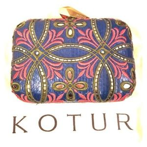 RARE Kotur Morley Embroidered BLUE SILK CLUTCH BAg